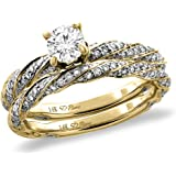 14K White/Yellow Gold 0.25 ct Cubic Zirconia 2pc Twisted Engagement Ring Set Round 4 mm, size5-10