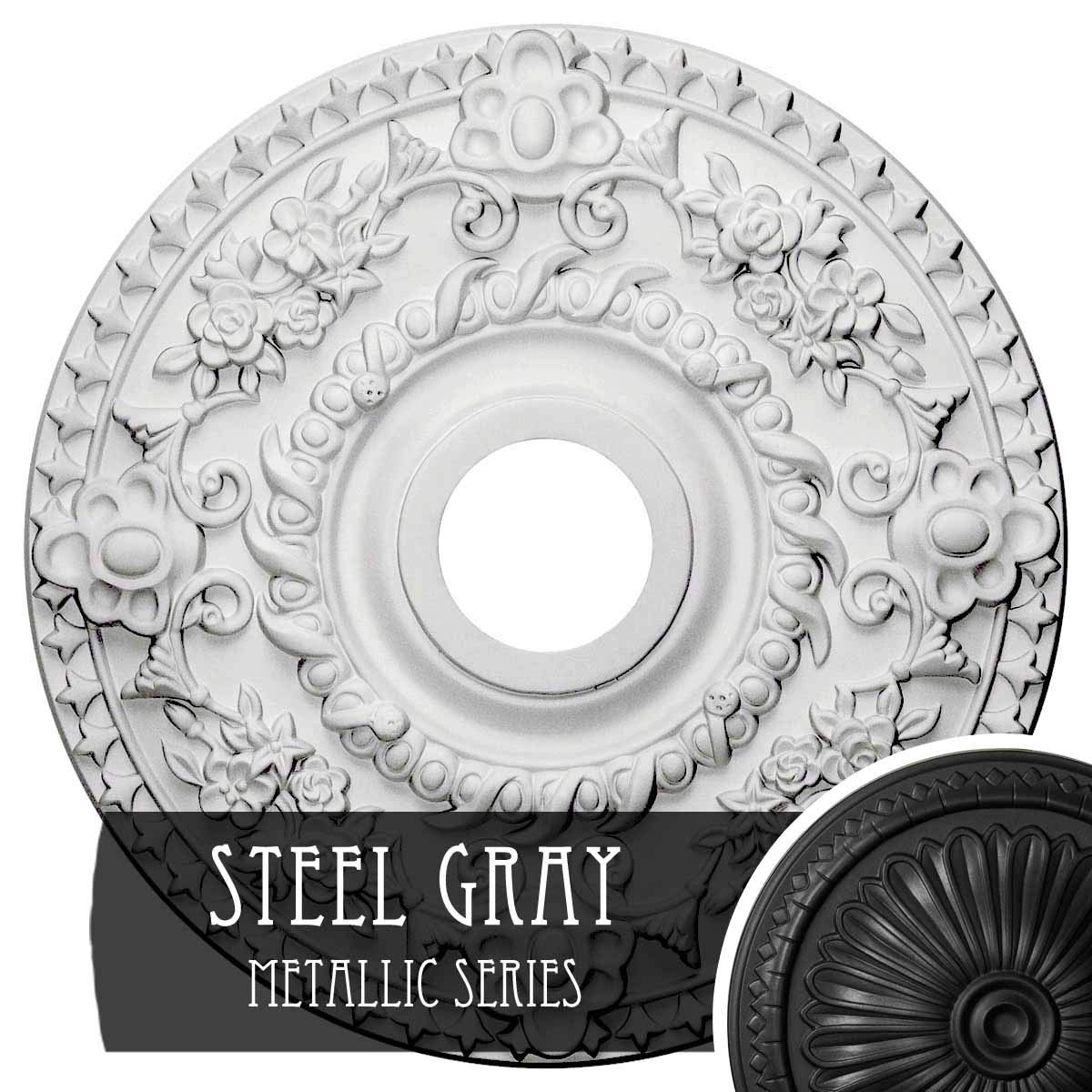 Ekena Millwork CM18ROSGS Rose Ceiling Medallion, Steel Gray