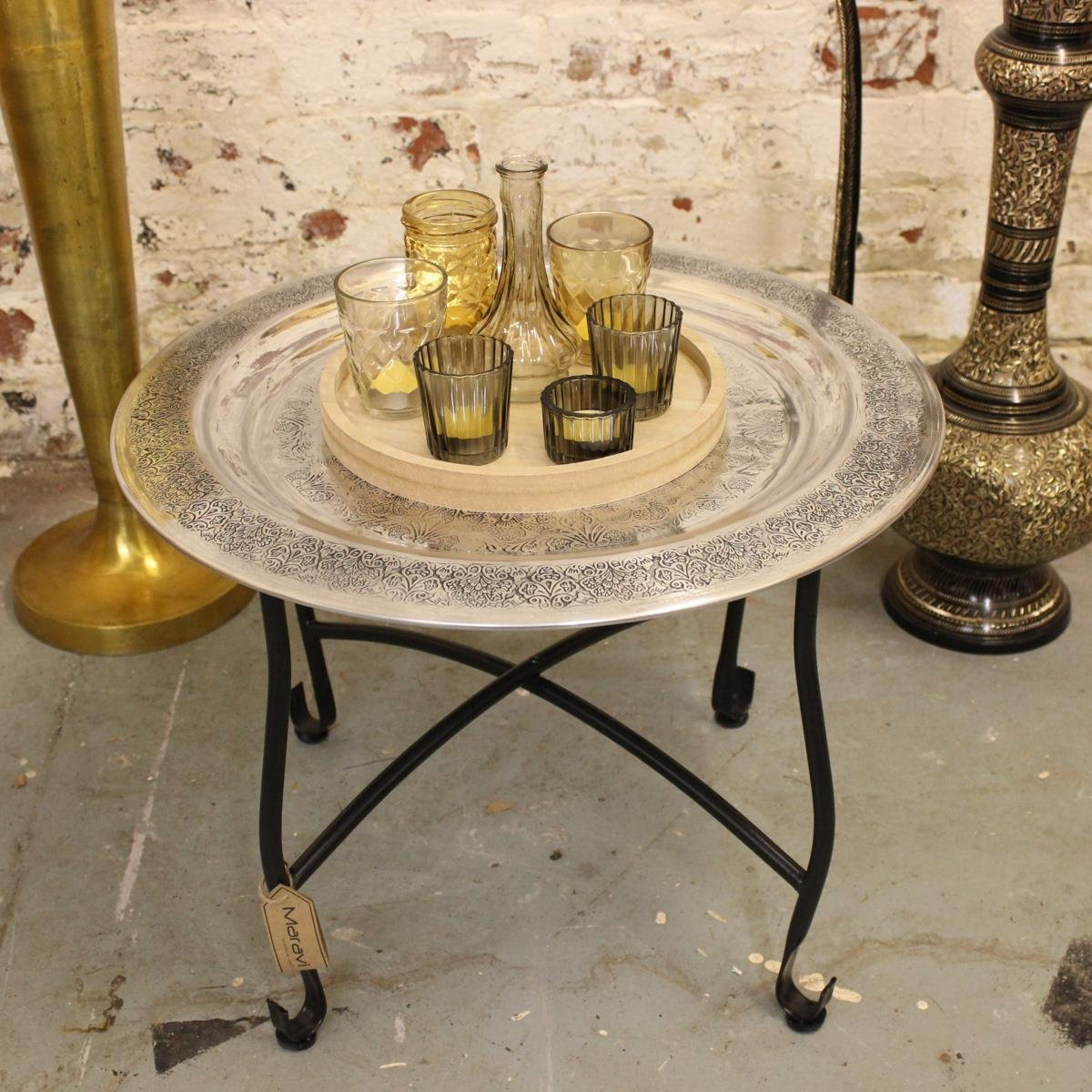 Girija 50cm Round Tray Table Side Morroccan Aluminium Floral Stamped Design