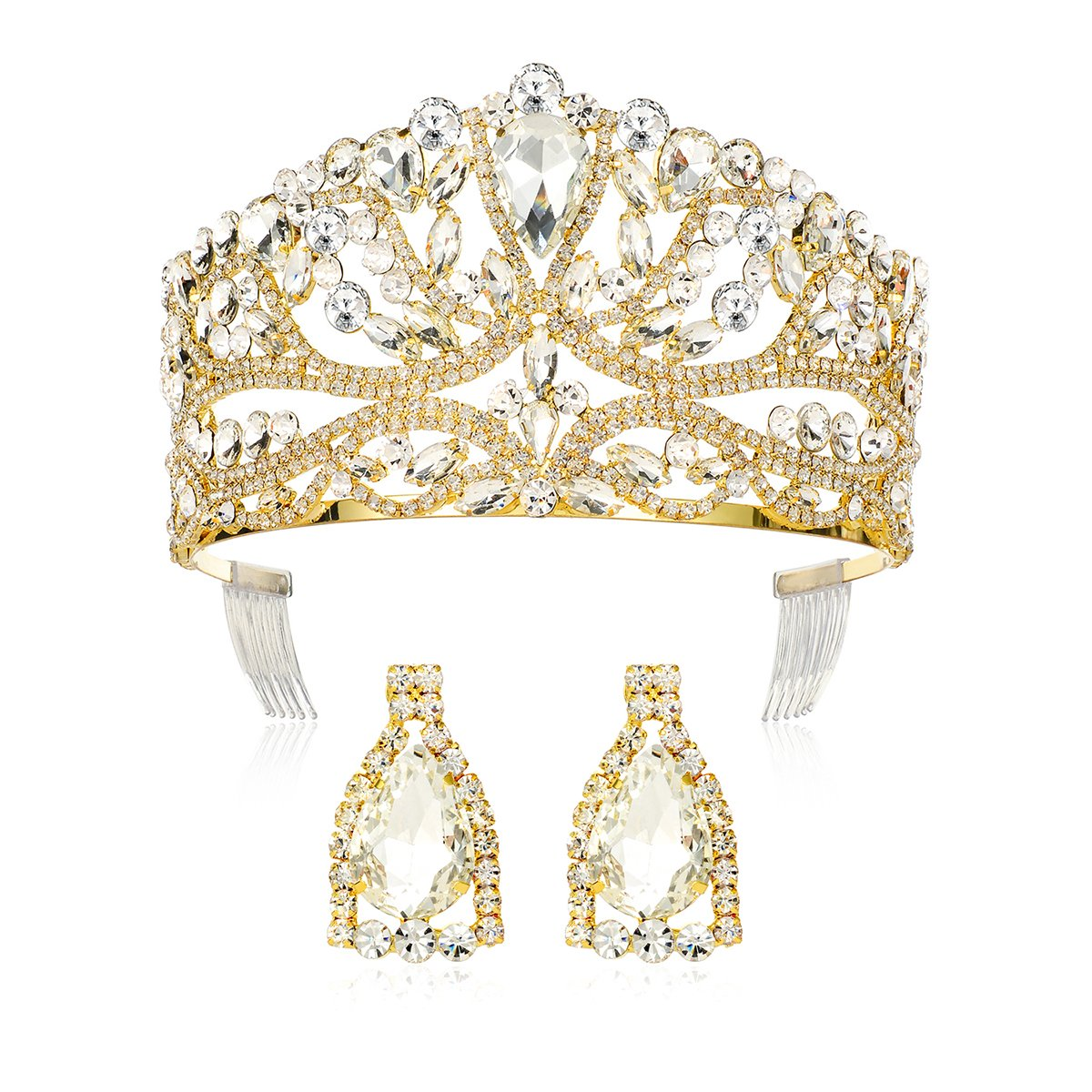 DcZeRong Princess Queen Tiara Crowns Rhinestone Crystal Adult Women Birthday Pageant Prom Gold Crown