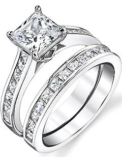 sterling silver princess cut bridal set engagement wedding ring bands with cubic zirconia - Princess Cut Diamond Wedding Ring Sets
