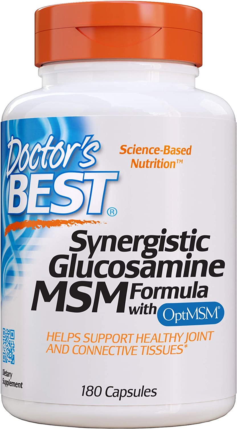 Doctor's Best Synergistic Glucosamine MSM with OptiMSM, Non-GMO, Gluten Free, Soy Free, Joint Support, 180 Caps