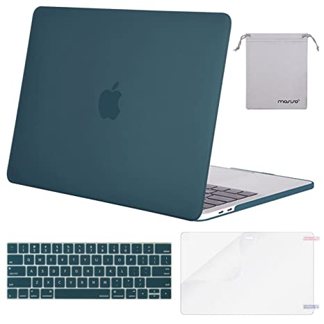 MOSISO Plastic Hard Shell & Keyboard Cover & Screen Protector & Storage Bag Compatible with MacBook Pro 15 inch, Pure Teal