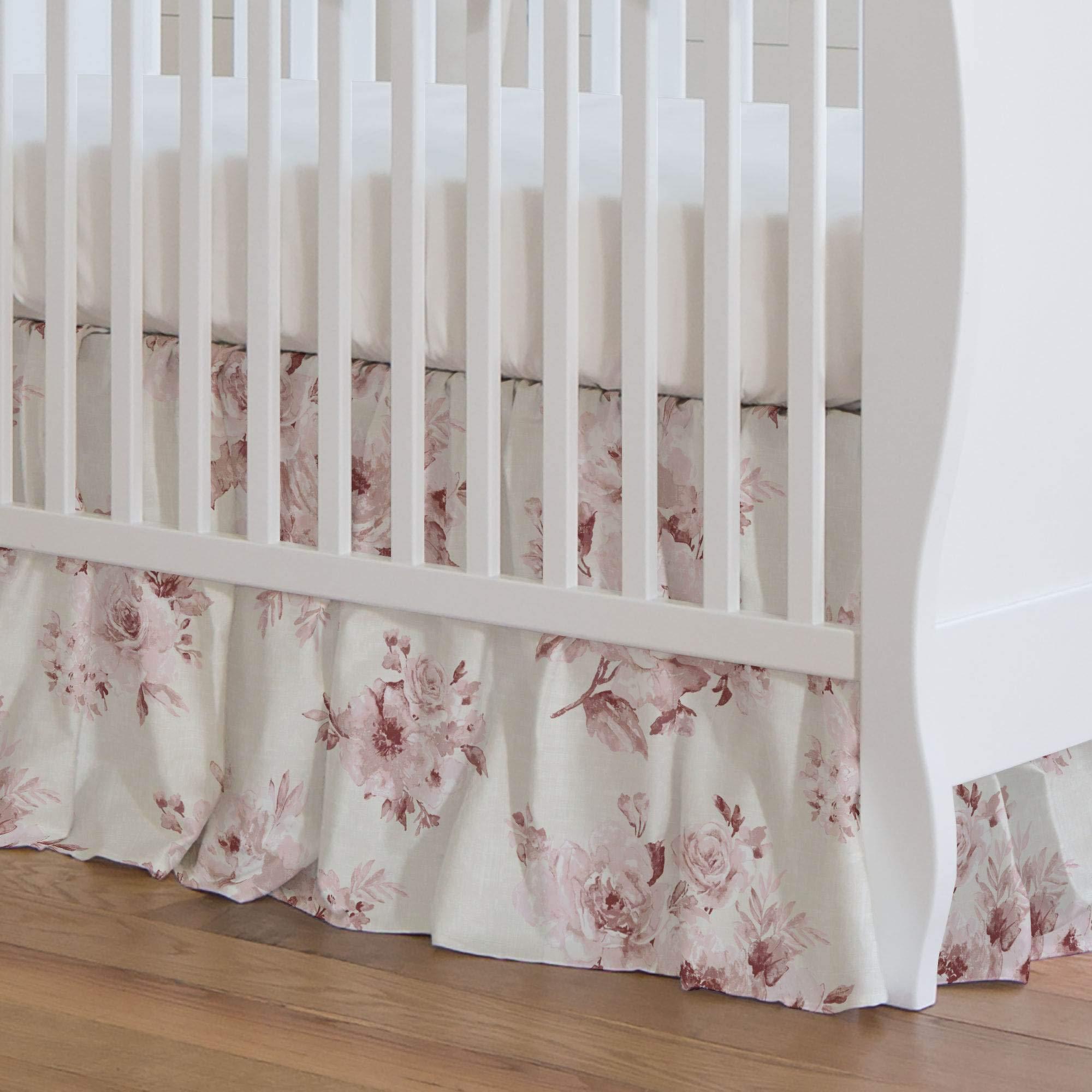 Carousel Designs Rose Farmhouse Floral Crib Skirt 17-Inch Gathered 17-Inch Length - Organic 100% Cotton Crib Skirt - Made in The USA by Carousel Designs