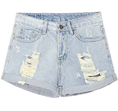 Amazon.com: SheIn Womens Denim Light Blue Cuffed Ripped ...