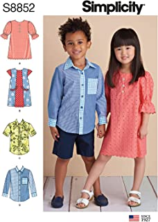 product image for Simplicity S8852 Child's Children's Shirt and Dress Sewing Patterns, Sizes 3-8