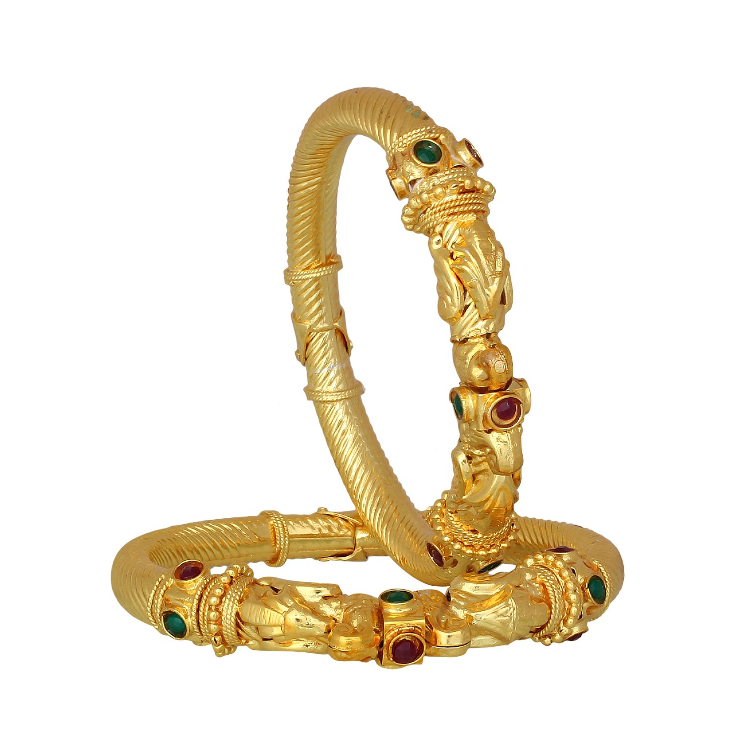 Buy The Luxor Green, Maroon Gold Plated Brass Bangle Set Bg-1884 ...
