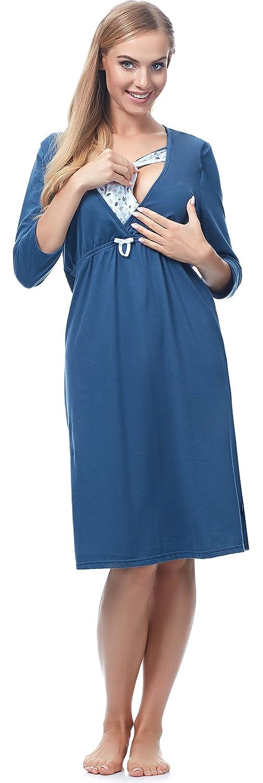 Be Mammy Premamá Camisón Maternidad Lactancia Vestidos de Cama Mujer T5LP2-3/4 (Hojas Azules, S): Amazon.es: Ropa y accesorios