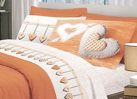 bd62ea94d6 Set Completo Lenzuola Disegno Cuore Singolo Arancio: Amazon.it ...