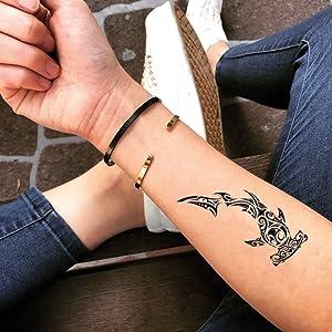 Hammerhead Shark Temporary Fake Tattoo Sticker (Set of 2) - www.ohmytat.com