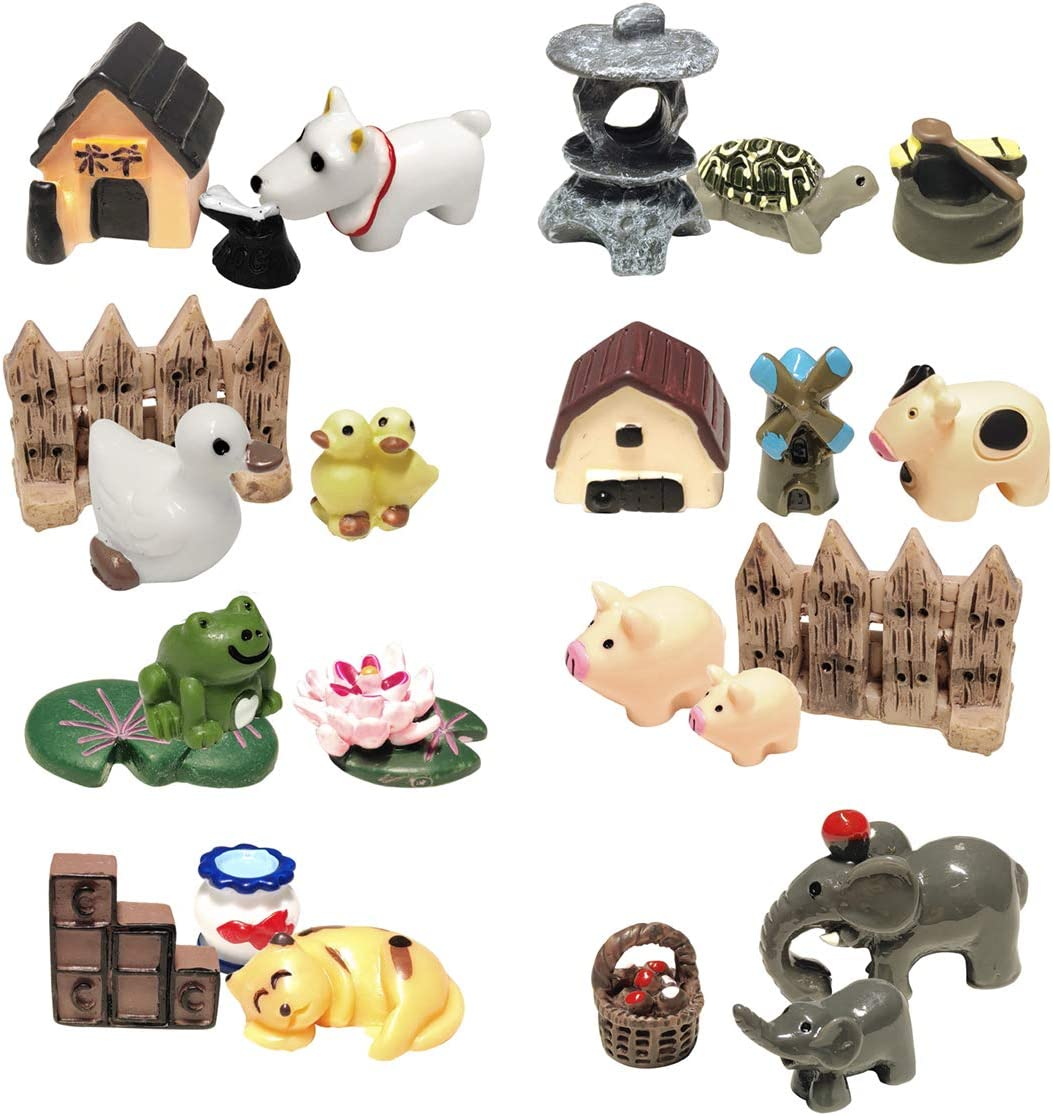 ZJW 24Pcs Fairy Garden Animals Miniatures, Bonsai and Dollhouse Kids DIY Decor Set (24pcs)