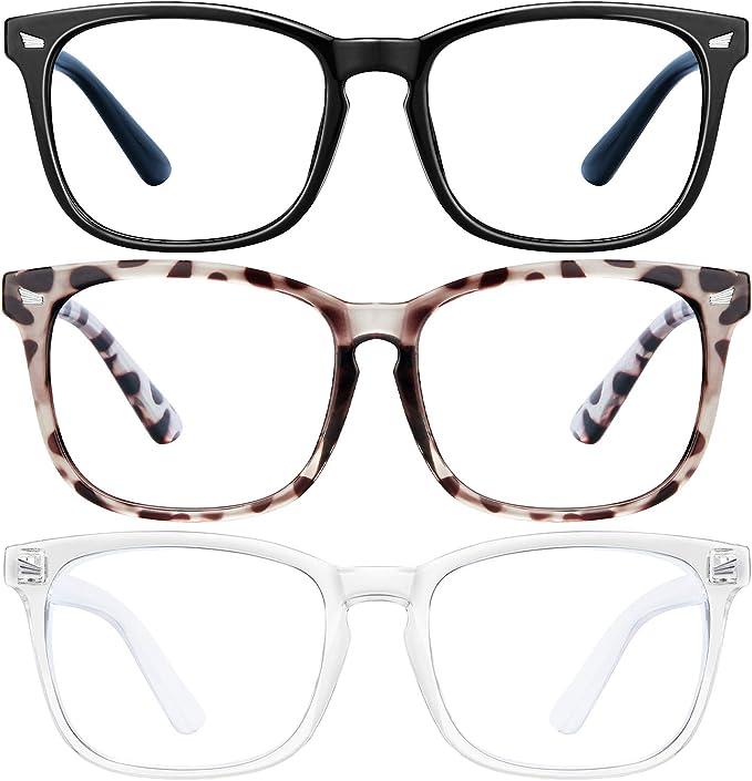 Amazon.com: Blue Light Blocking Glasses - 3Pack Computer Game Glasses Square Eyeglasses Frame, Blue Light Blocker Glasses for Women Men, Anti Eye Eyestrain Reading Gaming Glasses Non Prescription: Computers & Accessories