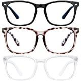 Blue Light Blocking Glasses - 3Pack Computer Game Glasses Square Eyeglasses Frame, Blue Light Blocker Glasses for Women…