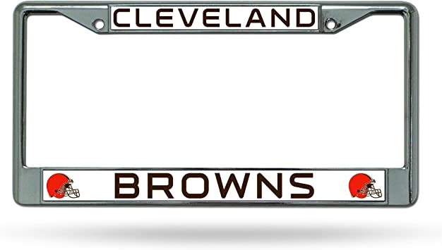 Topfans Black Browns Cleveland car tag Plate,Metal License Plate Frame for Browns Cleveland,Decorate Front License Plate Cover