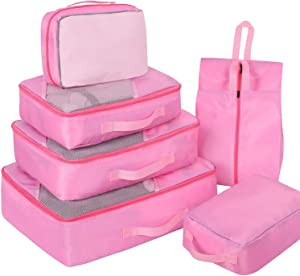 Packing Cubes for Travel, Faxsthy Luggage Cubes Set 7Pcs, Travel Packing Organizers with 2 Various Sizes Shoe Bags