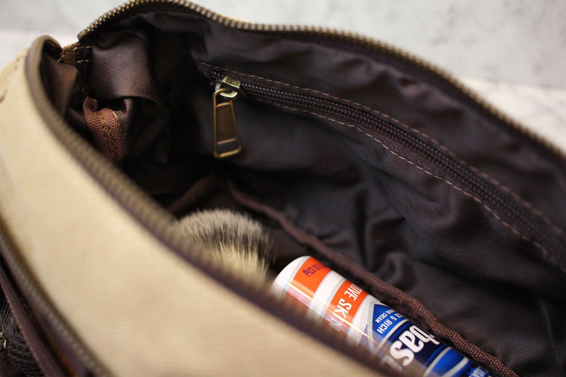 DOPP Kit Mens Toiletry Travel Bag YKK Zipper Canvas Leather (Medium, Khaki  - 3 days shipping). Size  7.3 x 6 x 4.7 inches. 463fde9ae5