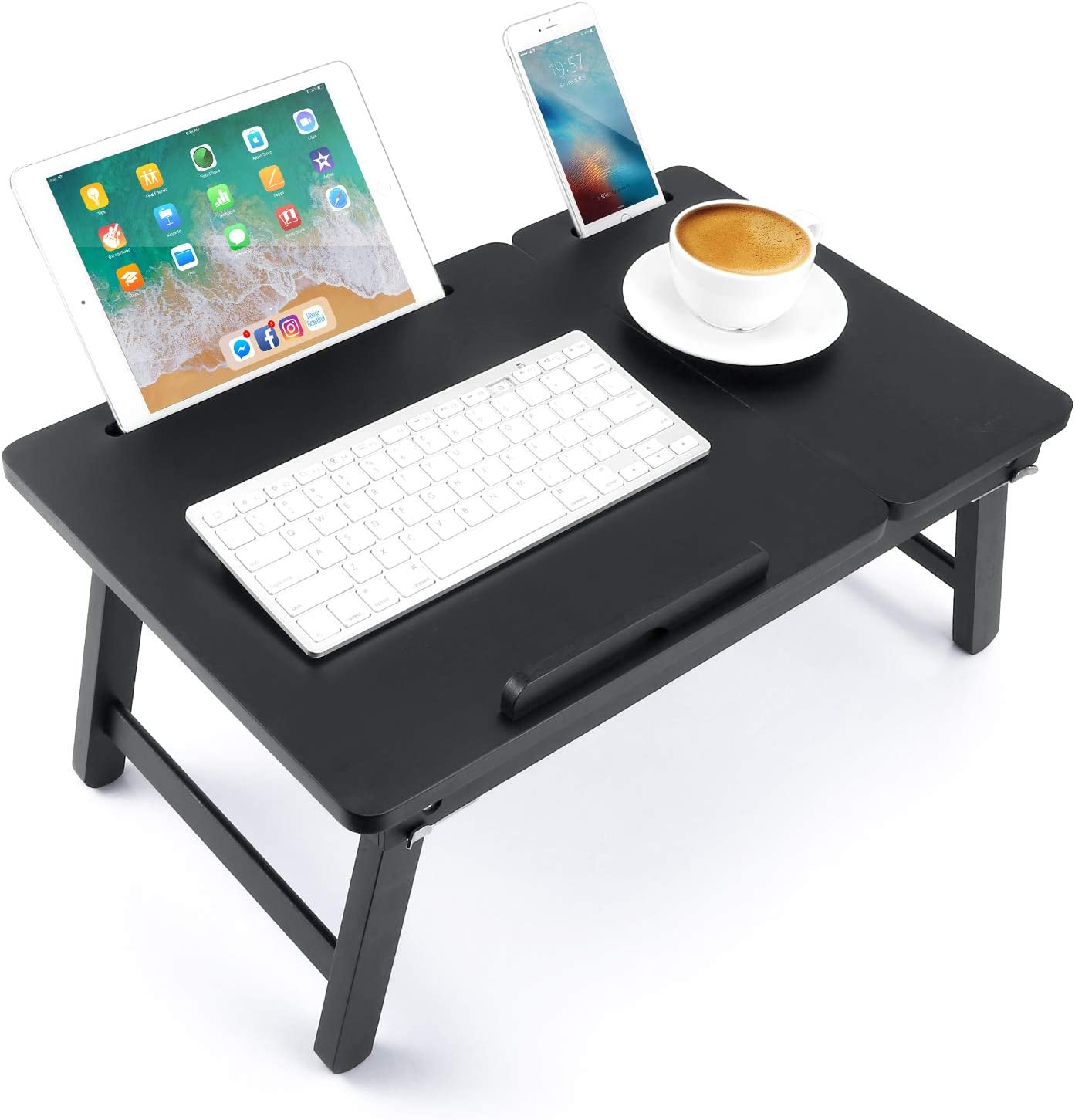 Lap Desk Nnewvante Bed Tray Table Foldable Laptop Desk Bamboo Breakfast Serving Tray w' Tilting Top Drawer Tablet Slots, Black