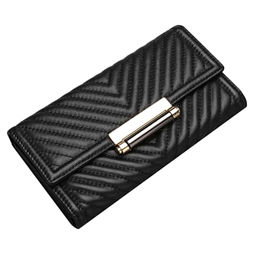b08e0787a347 Amazon.com: Contacts Women's Genuine Leather Ladies Clutch Wallets ...