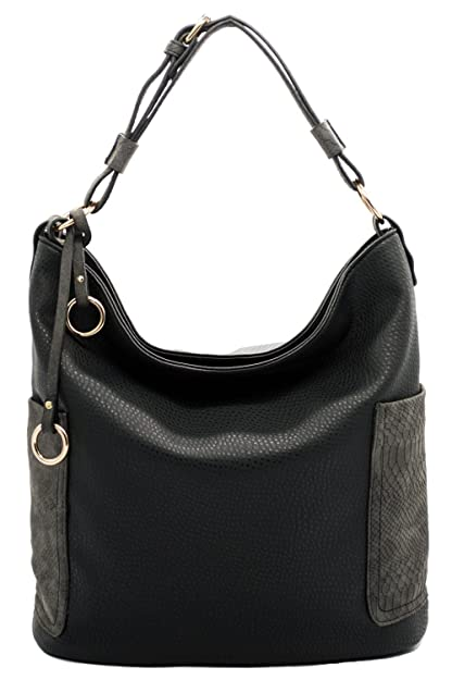 7e20a373c3 Amazon.com  JOYISM Women Handbag Hobo Bags Shoulder Tote Purse Bags Top  Handle PU Leather Bags With Side Zipper Pouch (Black)  Joyism