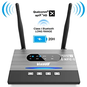 Visoud Long Range Bluetooth 5.0 Transmitter and Receiver aptX HD, aptX Low Latency & Dual Link Supported Wireless Audio Adapter Transmitter for TV Home Stereo PC by Optical RCA AUX 3.5mm