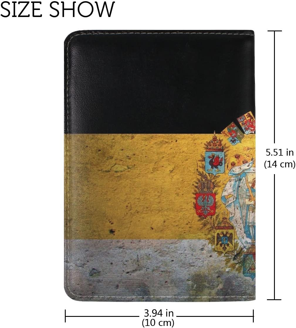 Flag Coat Of Arms Russia Empire Leather Passport Holder Cover Case Travel One Pocket
