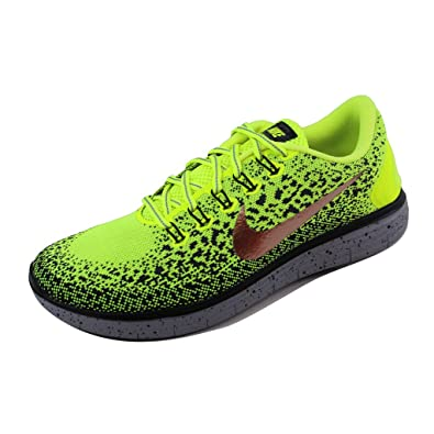 76558f2ede13b Nike Free RN Distance Shield Men s Shoes Volt Red Volt Dark Grey Black Metallic  Red Bronze 12 D(M) US  Amazon.in  Shoes   Handbags