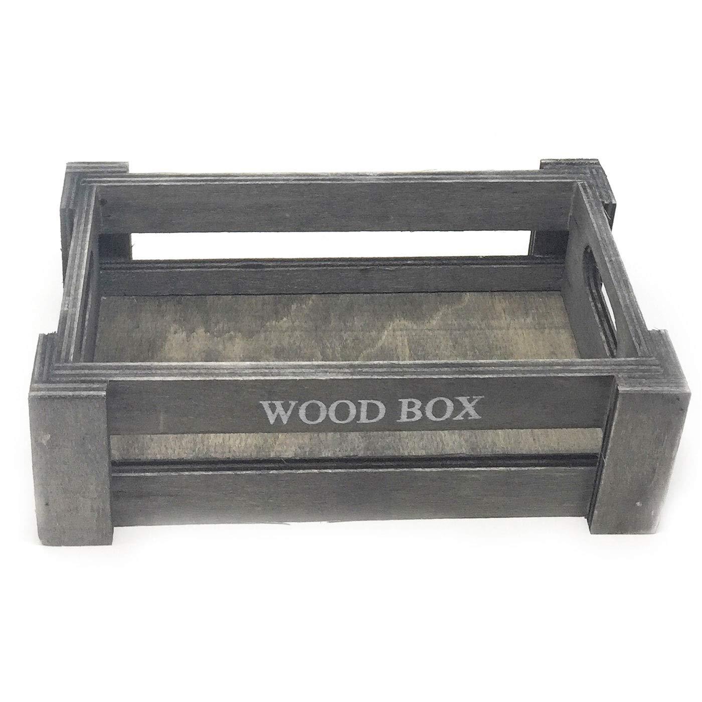 Caja de madera Vintage color gris oscuro 7 x 22 x 12. cm: Amazon.es: Hogar