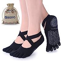 Yoga Socks for Women with Grips, Non-Slip Five Toe Socks for Pilates, Barre