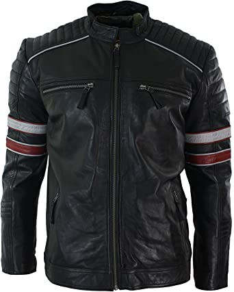 2017 New Mens Vintage Bikers Red and Orange Stripe Black Real Leather Jacket