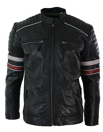 dc95b188921c Aviatrix Blouson Homme Cuir véritable Style Biker Motard Noir à Rayures  Rouges Blanches Style décontracté  Amazon.fr  Vêtements et accessoires