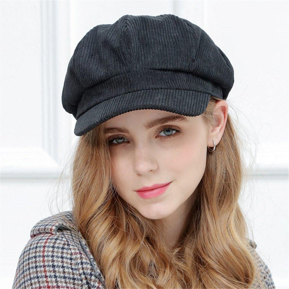 Sombrero de invierno femenino las mujeres boina señoras dulce dama moda hat cap pintor pana ajustabl...