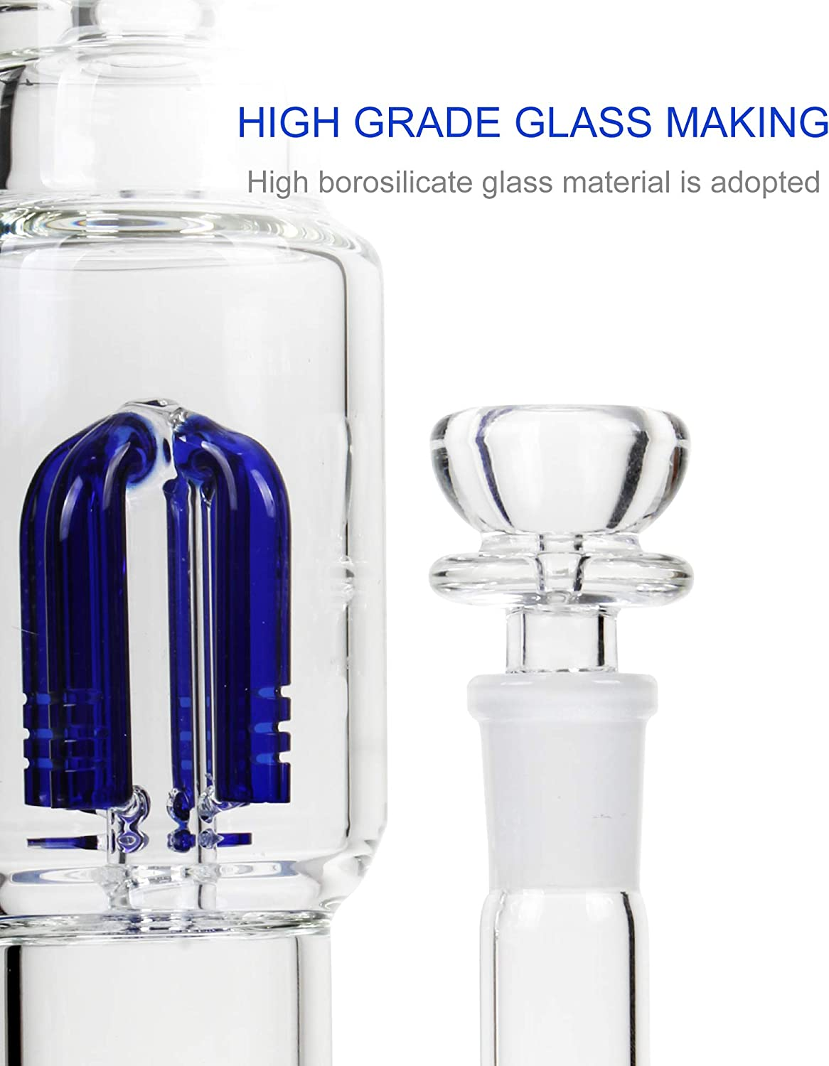 3-Pcs REANICE Bong Bowl 18.8mm Male Glass Joint Thick Glass Ash Catcher For Smoking Bong
