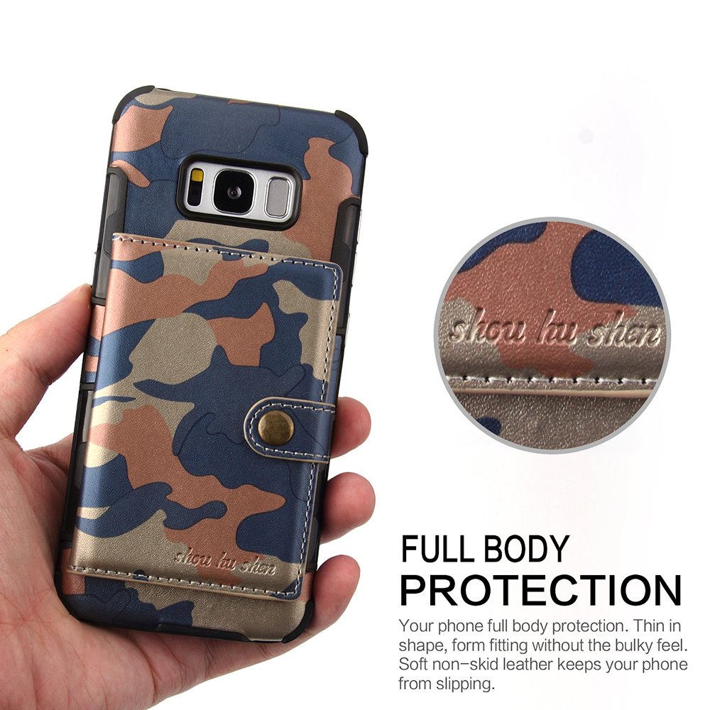DAMONDY Luxury Camo Wallet Purse Card Holders Design Cover Soft Shockproof Bumper Flip Leather Kickstand Magnetic Closure Camouflage Case for Samsung Galaxy S8 2017-Rose Red S8 Case
