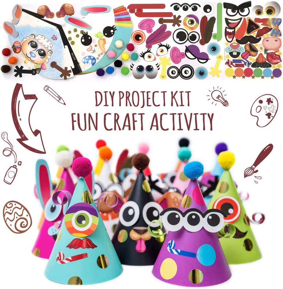 Fun Cone Hats Making Activity Kit – DIY Art & Craft Project Set w/ 12 Colorful Hats, Pompoms and Stickers. Enjoyable Indoor Family Time at Home. Party Celebration Kit for Kids Birthday, Spring Break, Easter, Christmas, Fiesta, Thanksgiving and New Year. Great as Handmade Decoration and Gifts, Group Activities, Game Supplies for Crafty Boys & Gir