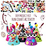 Party Hats Making Activity Kit - DIY Craft Set w/ 12 Colorful Hats, Pompoms and Stickers. Fun Celebration Kit for Kids Birthday, Easter, Christmas, Fiesta, Thanksgiving and New Year. Great as Handmade Decoration and Gifts, Group Activities, Game and Party Supplies for Boys & Girls