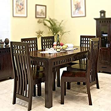 39f3cb3a6ff2 RS Furniture Sheesham Wood Dining Table for Living Room with 6 Chairs  Walnut Finish: Amazon.in: Home & Kitchen
