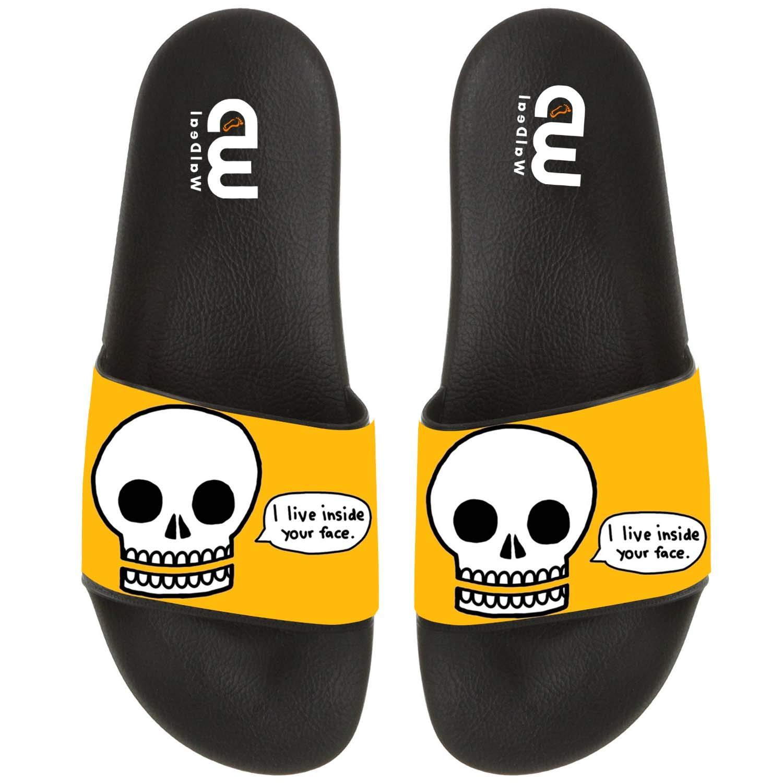 Funny Skull I Live Inside Your Face Summer Slide Slippers For Men Women Kid Indoor Open-Toe Sandal Shoes