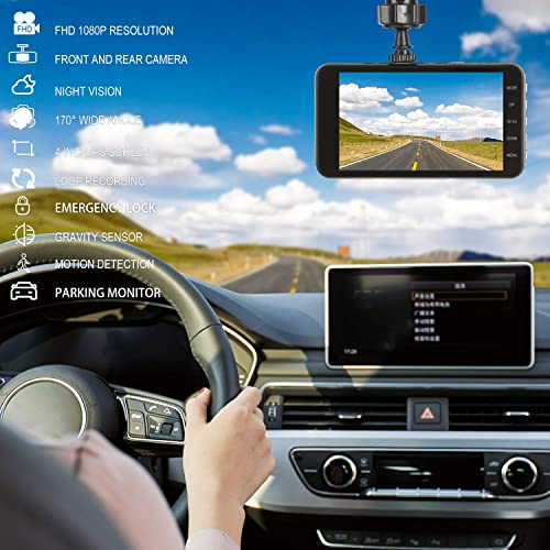 Dash Cam Front and Rear Dual with 32G SD Card, SILINTION Dash Camera 4 inch Dashboard Camera Full HD 170 Wide Angle Backup Camera with Night Vision G-Sensor Parking Monitor Loop Recording Motion Dete