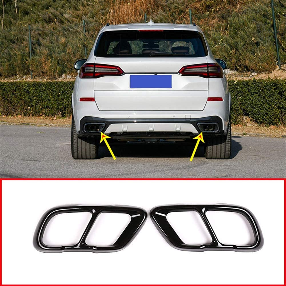 YIWANG Stainless Steel Exhaust Muffler Tail Tip Pipe Trim Cap Cover Frame 2Pcs For BMW X5 G05 X7 2019 2020 Auto Accessories Silver