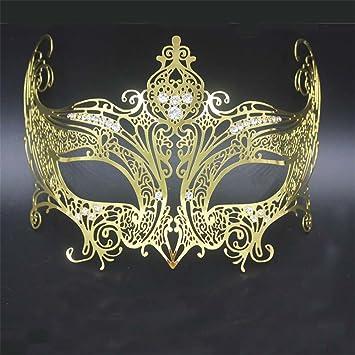 Mujer Corona Venecia Halloween Máscara de Metal Maquillaje Mascarada Princesa Show Photo Props Oro, Oro