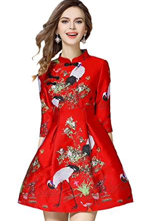 2a9692c7e Tuliplazza Women's Crane Embroidery A-line Tunic Cocktail Party Prom Short  Dress,Red,
