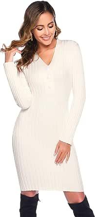 Hawiton Vestido de Punto para Mujer Vestido de Invierno de Manga Larga de Cuello Pico con Botones Suéter con Cable Jerseys Largos