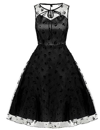 ZEARO Vestido Largos de Verano Vintage Años 50 con Falda de Vuelo ...