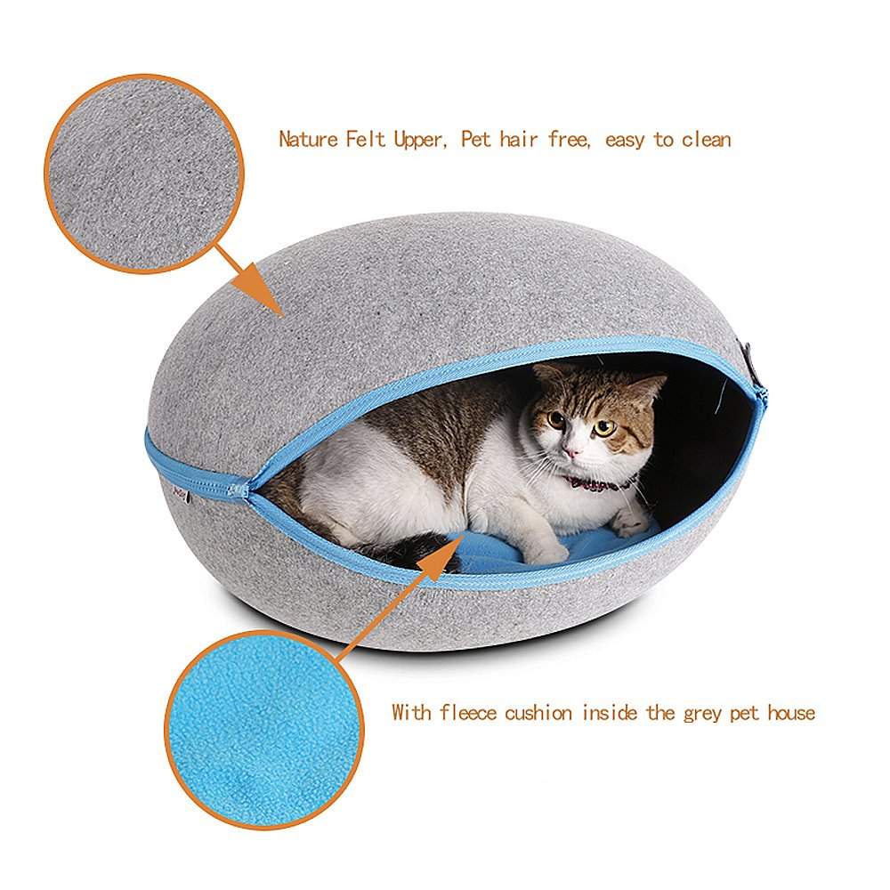 CocoGo® Nature Egg Shape Cozy Felted Caves for Cat Small Dog (Grey) by CocoGo (Image #5)