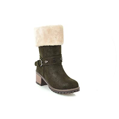Snow Shoes Women Bottes Sexy Zapatillas Mujer Bota Feminina Wedding Heels Leather Boots,Army Green