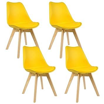 Woltu® Juego de 4 sillas cocina comedor silla silla silla de comedor ...