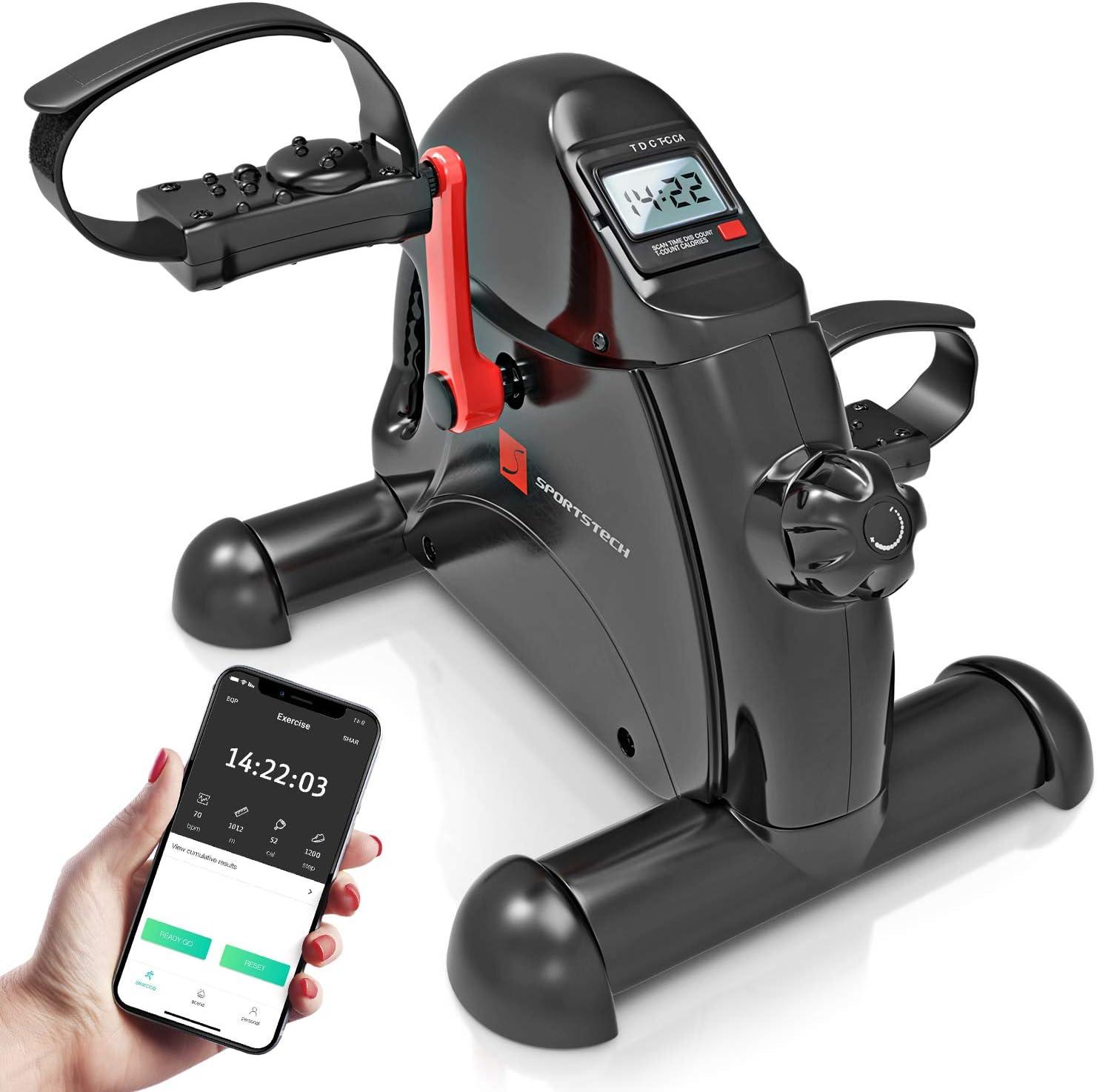 Entra/înement pour Maison /& Bureau Fonction Massage P/édales ajustables Sportstech Mini Home Trainer Fitness App Mini Bike Mini Velo DFX50 Entra/îneurs pour les jambes Pour Hommes et Femmes