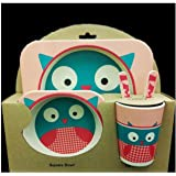 PPD Kids Dinning set Eco friendly Natural Bamboo Fibre Dinning Sets to make kids mealtimes fun