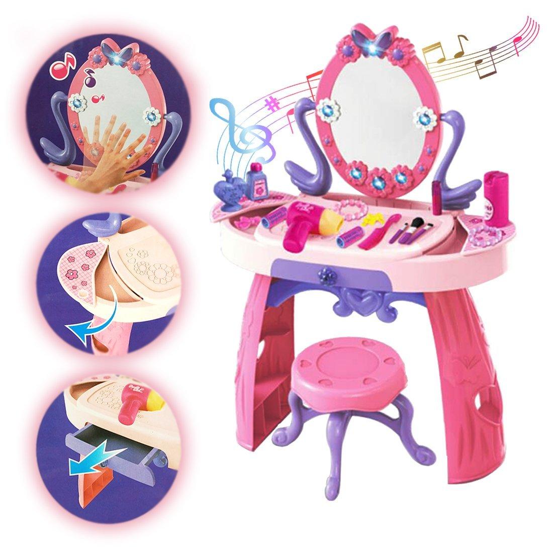 deAO Mesita Tocador Princesa Glamurosa con Espejo, Taburete y Accesorios Incluidos - Efectos de Luz y Sonido NDPRW