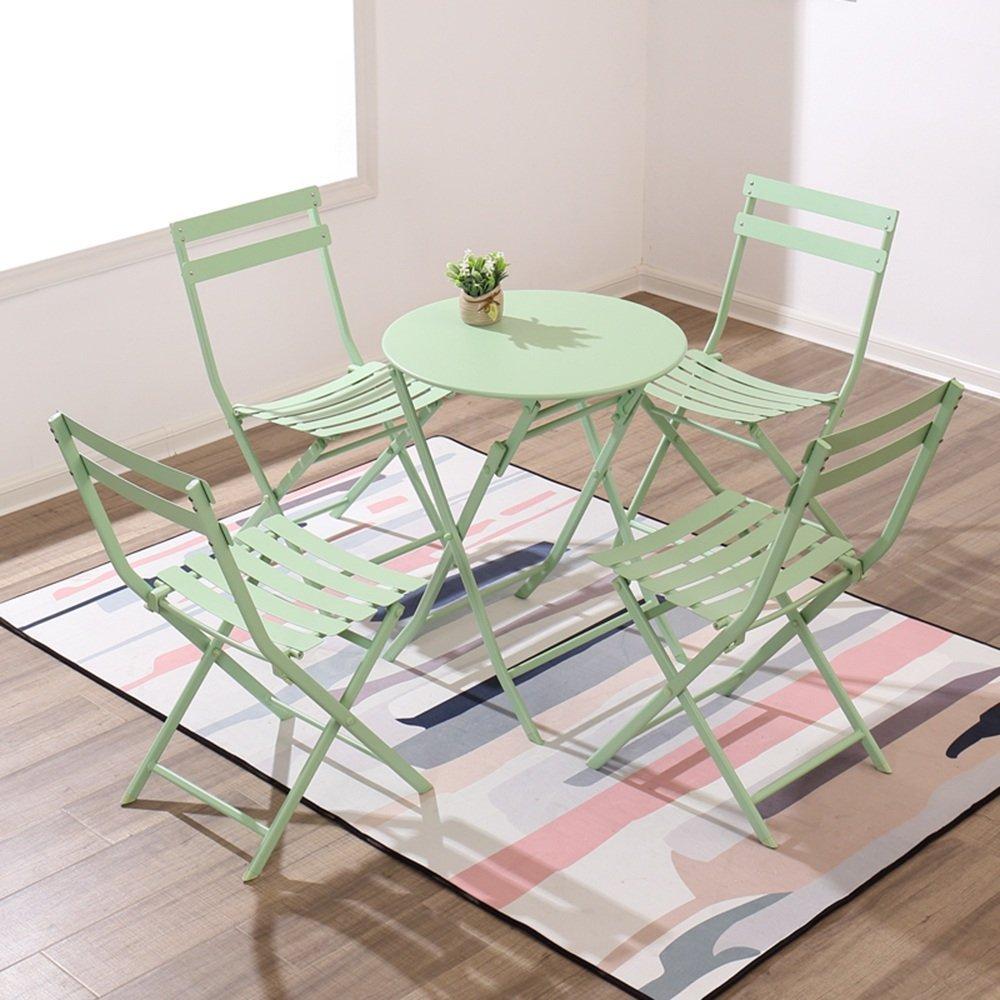 tienda de venta verde BJYG Mesa Plegable con 4 sillas Plegables Plegables Plegables Camping Oficina al Aire Libre Pequeña Mesa rojoonda Mesa de Comedor Múltiples Colors Disponibles (Color  Amarillo)  alta calidad y envío rápido